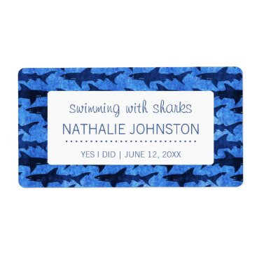 Beach Themed Sharks in the Deep Blue Sea Swimmer Label