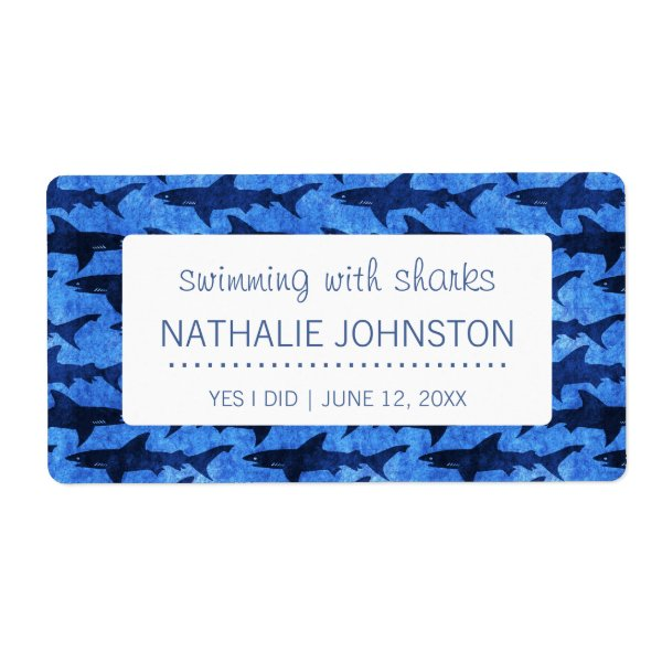 Sharks in the Deep Blue Sea Swimmer Label