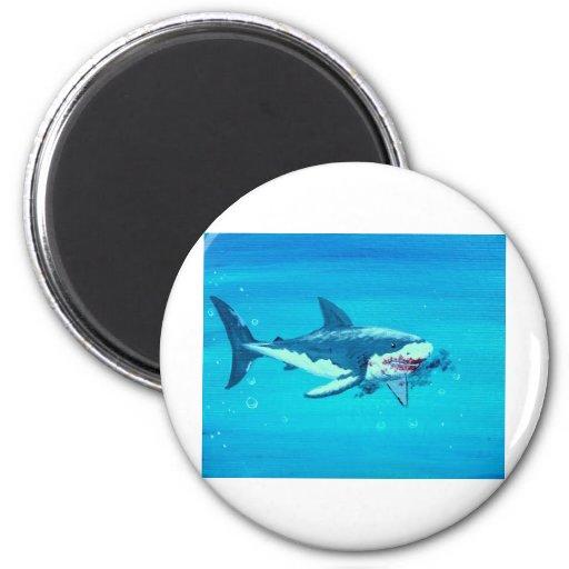 Shark's lunch mustache refrigerator magnet