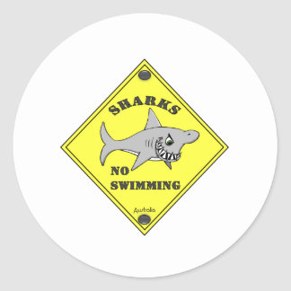 Sharks No Swimming! Classic Round Sticker