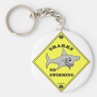 Sharks No Swimming! Keychain