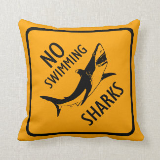 Sharks No Swimming Warning Sign Throw Pillow