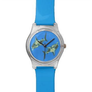sharks on blue wrist watch