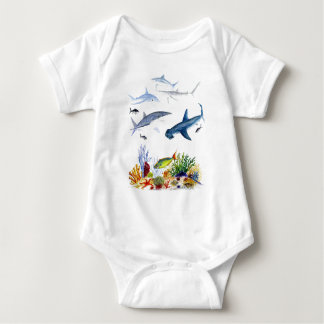 Sharks on the reef baby bodysuit