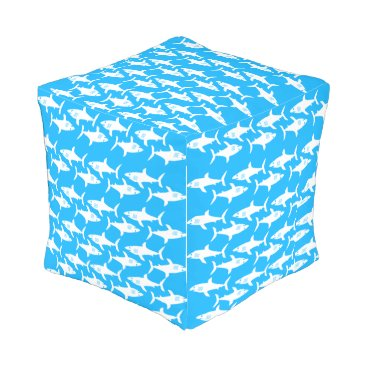 Beach Themed Sharks on Turquoise Outdoor Pouf
