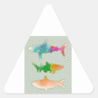 Sharks on zigzag chevron - mono triangle sticker