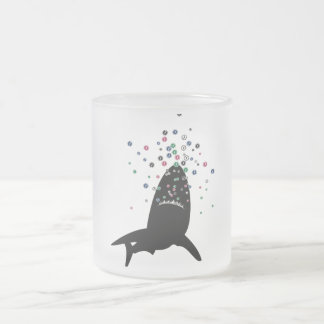 Sharks+pecezoides Frosted Glass Coffee Mug