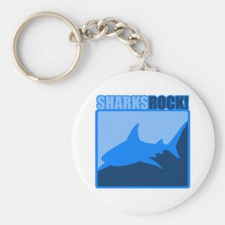 Sharks Rock Basic Round Button Keychain
