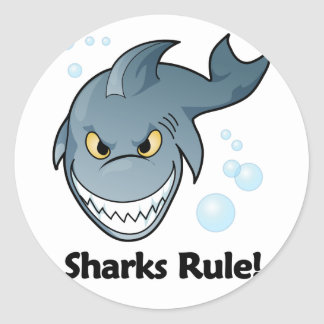 Sharks Rule! Classic Round Sticker
