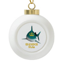 Sharks Rule Golden Crown Ceramic Ball Christmas Ornament