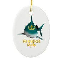 Sharks Rule Golden Crown Ceramic Ornament
