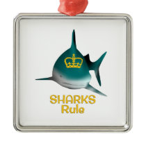 Sharks Rule Golden Crown Metal Ornament