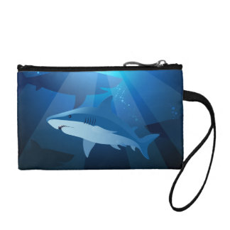 Sharks swimming change purse
