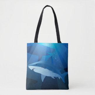 Sharks swimming tote bag