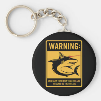 sharks with frickin laser beams attached basic round button keychain