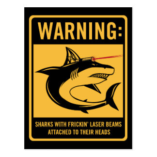 sharks with frickin laser beams attached postcard