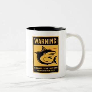 sharks with frickin laser beams attached Two-Tone coffee mug