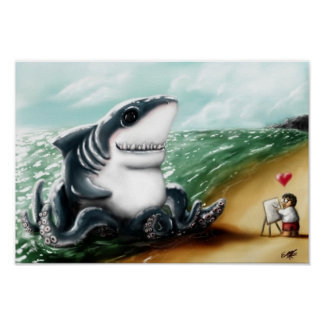 Sharktopus Love Print