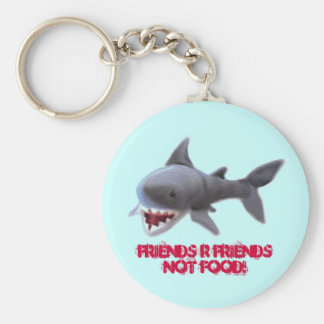 sharky basic round button keychain