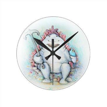 Beach Themed Sharky Round Clock