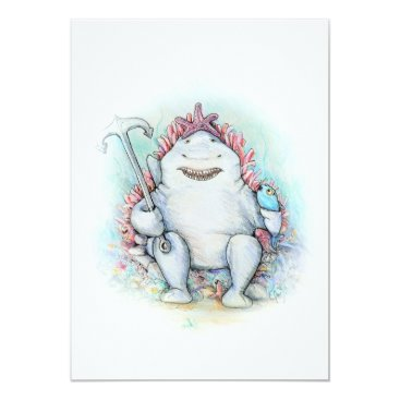 Beach Themed Sharky the happy friendly shark card. card