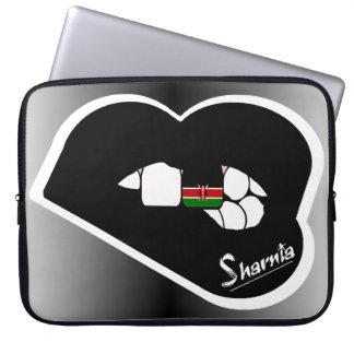 "Sharnia's Lips Kenya Laptop Sleeve 15"" Black Lips"