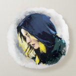 Sharon Carter Painted Graphic Round Pillow