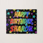 "[ Thumbnail: ""Sharon"" First Name, Fun ""Happy Birthday"" Jigsaw Puzzle ]"