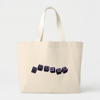 Sharon toy blocks in blue tote bag
