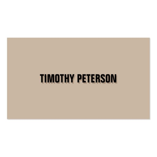 Sharp and Clean Shadow Text on Tan/Black Double-Sided Standard Business Cards (Pack Of 100)