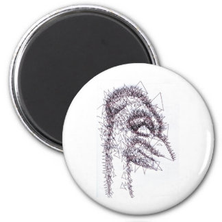Sharp Angled Figure of Tension 2 Inch Round Magnet