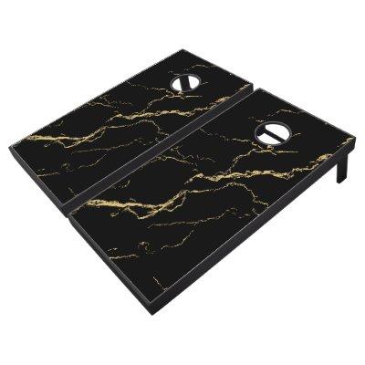 Sharp Black and Gold Marble Regulation Cornhole Set