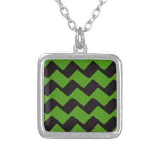 Sharp Black and Green Wavy Chevrons Pendants