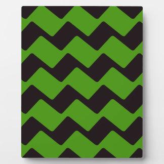 Sharp Black and Green Wavy Chevrons Plaque