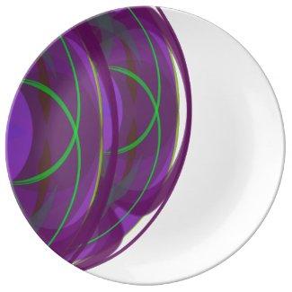 Sharp Circular Design Purple and Porcelain Plate