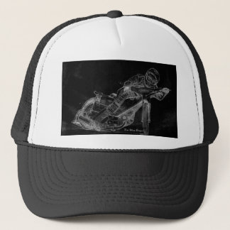 sharp designs. speedway bikeonblack trucker hat