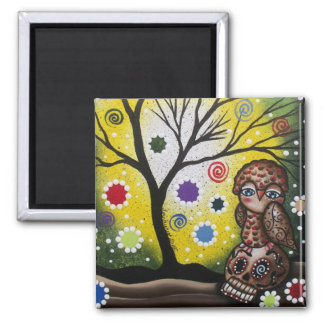 Sharp Eye_ By Lori Everett_ Day Of The Dead, Owl 2 Inch Square Magnet