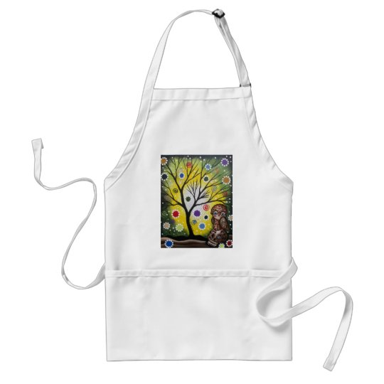 Sharp Eye_ By Lori Everett_ Day Of The Dead, Owl Adult Apron