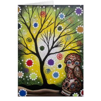 Sharp Eye_ By Lori Everett_ Day Of The Dead, Owl Greeting Card