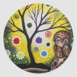 Sharp Eye_ By Lori Everett_ Day Of The Dead, Owl Classic Round Sticker