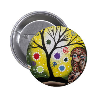 Sharp Eye_ By Lori Everett_ Day Of The Dead, Owl Pinback Button