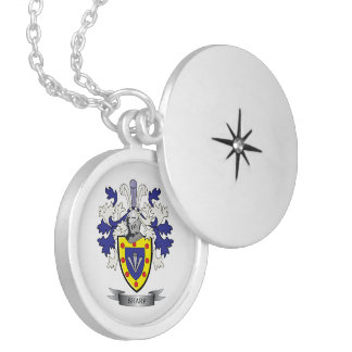 Sharp Family Crest Coat of Arms Locket Necklace