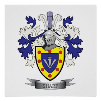 Sharp Family Crest Coat of Arms Poster