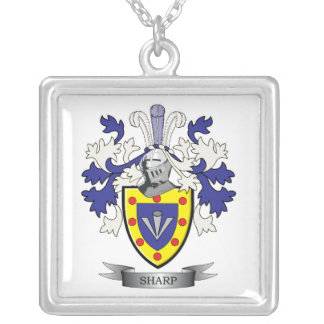 Sharp Family Crest Coat of Arms Silver Plated Necklace