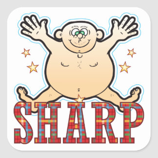 Sharp Fat Man Square Sticker