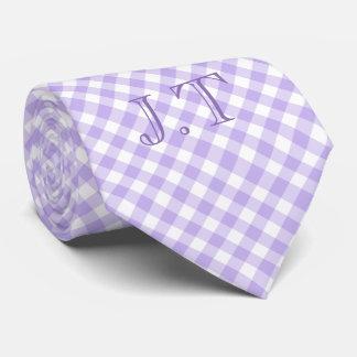 Sharp Looking Lavender Gingham Pattern Monogram Neck Tie
