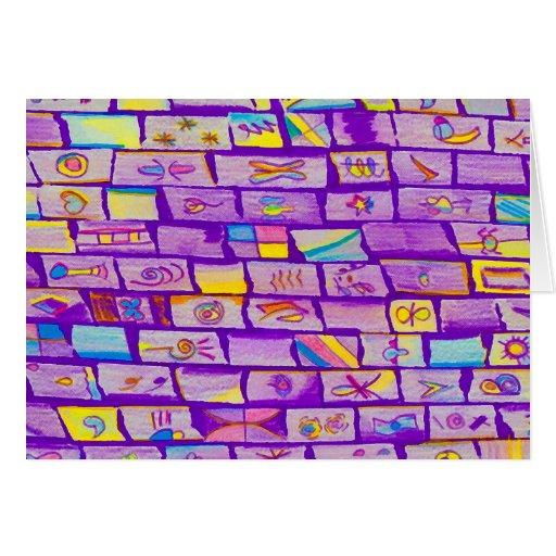 Sharp Purple Bricks Greeting Card