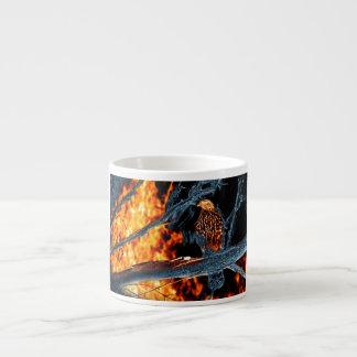 Sharp Shinned Hawk Fire and Ice. (0112) 6 Oz Ceramic Espresso Cup