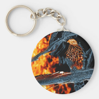 Sharp Shinned Hawk Fire and Ice. (0112) Basic Round Button Keychain