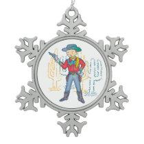 Sharp Shootin' Cactus Cowboy Rusty Snowflake Pewter Christmas Ornament